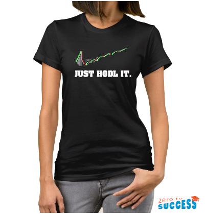 Дамска черна тениска Just hodl it
