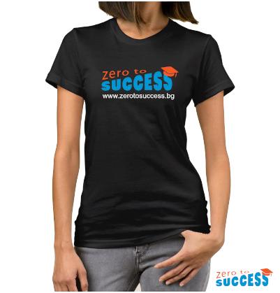 Дамска черна тениска Zero to success