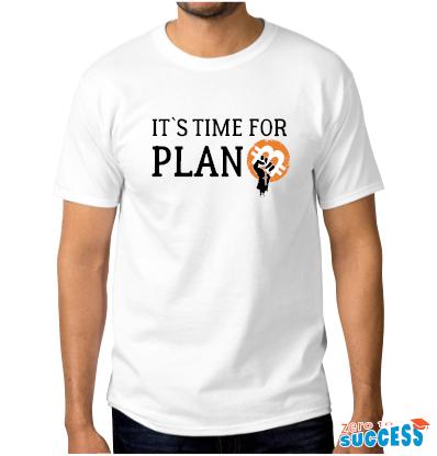 Мъжка бяла тениска It's time for plan Btc
