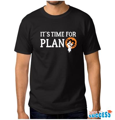 Мъжка черна тениска It's time for plan Btc