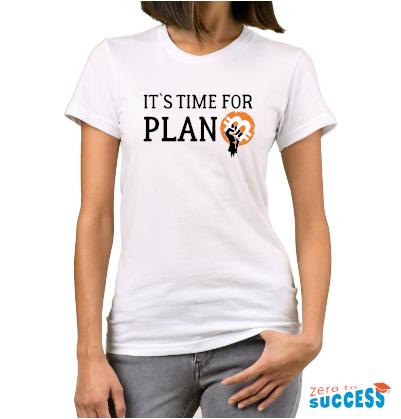 Дамска бяла тениска тениска It's time for plan Btc