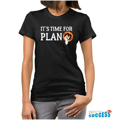 Дамска черна тениска It's time for plan Btc