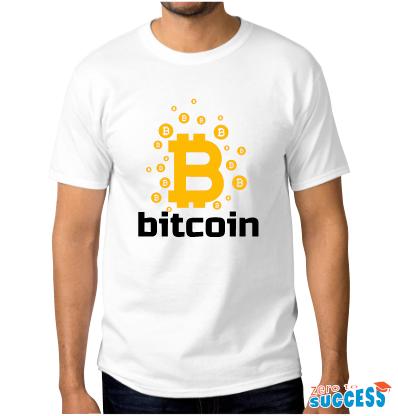 Мъжка бяла тениска Bitcoin