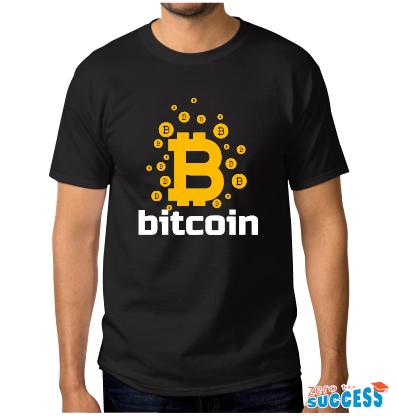 Мъжка черна тениска Bitcoin