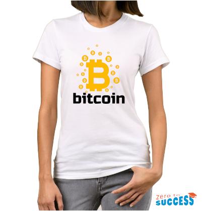 Дамска бяла тениска Bitcoin