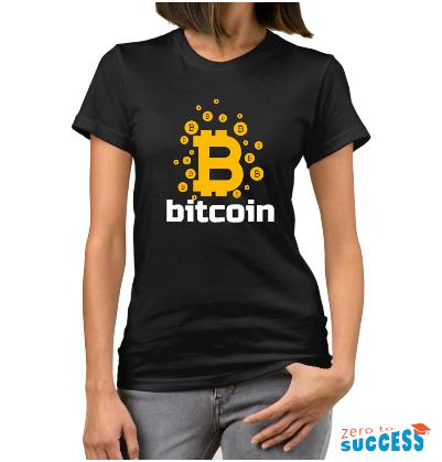 Дамска черна тениска Bitcoin